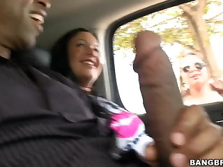 Godly busty young whore Angelica Heart having an interracial love in open-air
