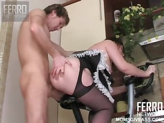 Brunette milf Martha pleases young mendicant with hardcore fuck