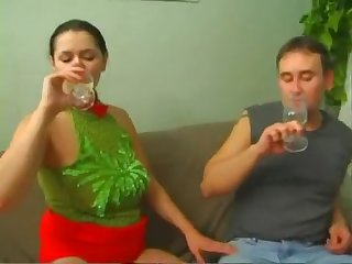 Tight brunette milf Emilia got drunk and fucked with three guys