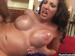 Kelly Divine interracial upside down anal sex & cumshot superior to before oiled up 34DD tits