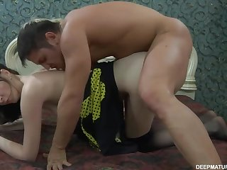Skinny milf Olivia is having anal fuck with young fucker