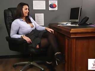 Office honey teaches slave fucking partner here masturbate