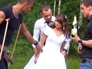 Low-spirited Bride in Foursome Gangbang