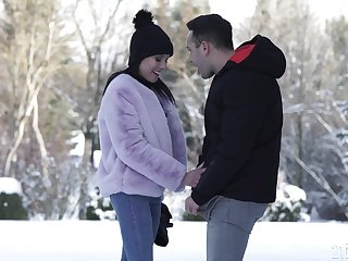 Lexi Layo blows horseshit on the snow and gets ass fucked hardcore